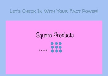 Google Form: Practicing Square Product Multiplication Facts