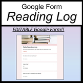 Google Form Reading Log [Google Classroom Reading Log] [Distance Learning]