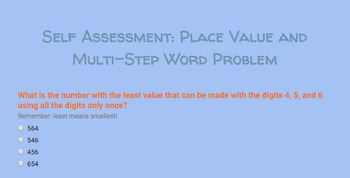 Google Form Self Assessment Interactive Challenge: Place Value and Word Problem
