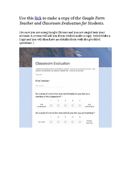Google Form Teacher and Classroom Evaluation for Students
