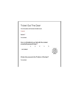 Google Form: Ticket out the Door
