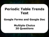 Google Form and Doc Test: Periodic Table Trends (30 multip