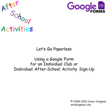 Google Form for After-School Activities Sign-Up