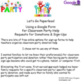 Google Form for Classroom Party Help Request & Sign-Up