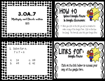 Google Form to Assess 3.OA.7 - Fluently Multiply & Divide Within 100
