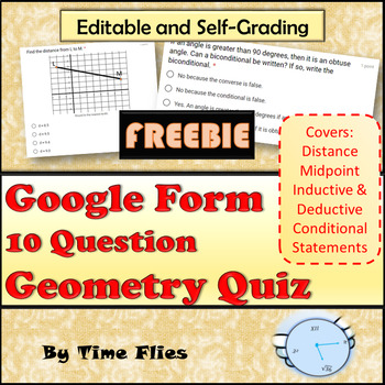 Google Forms - 10 Question Geometry Quiz for 1st 6 Weeks