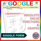 Use with Google Forms: Absolute Value Functions Quiz or Hw