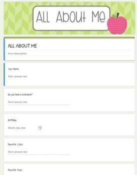 BACK TO SCHOOL Google Forms: Student and Parent forms