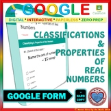 Use with Google Forms: Classifying & Properties of Real Numbers Quiz or Homework