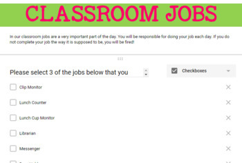Google Forms- Classroom Jobs