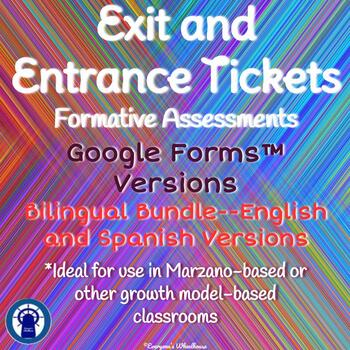 Google Forms Compatible Entrance and Exit Tickets Bilingual Bundle