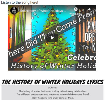 Google Forms Reading Holiday Compare & Contrast Passage Questions Using Rap Song