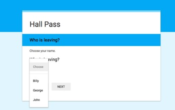 Google Forms Hall Pass