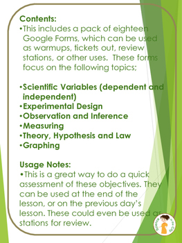 Introduction to Science Google Forms Bell Ringer or Exit Ticket Assessment Set