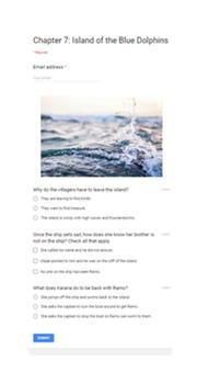 Google Classroom Island of the Blue Dolphins Comprehension Quizzes
