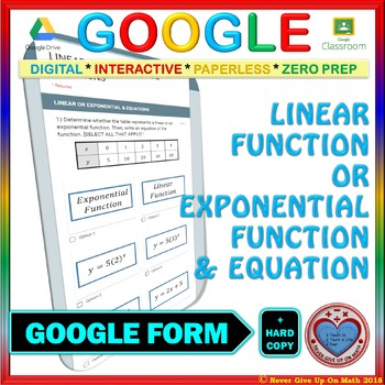 Google Forms: Linear or Exponential Function? Find the Equations