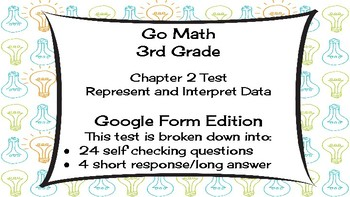 Google Forms Math Test for 3rd Grade: Supports Go Math Chapter 2 Test