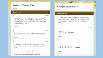 Google Forms Math Test for 3rd Grade: Supports Go Math Chapter 3 Test