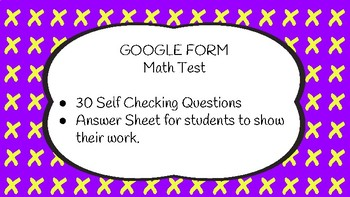 Google Forms Math Test for 3rd Grade:  Supports Math Test for Chapter 4