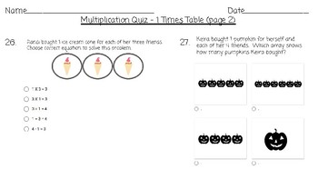 Google Forms  Multiplication Quiz / 1 Times Table