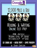 """SBAC Test Prep ~ 1 Text, """"12,000 Miles a Day"""" ~ ONLINE Google Forms"""