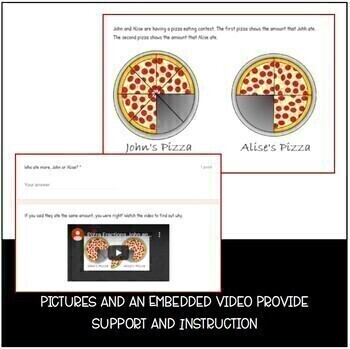 Google Forms Pizza Eating Contest - Equivalent Fractions - Distance Learning