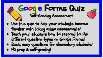Google Forms Practice Quiz #1! NO PREP & SELF-GRADING-Link & Directions INCLUDED