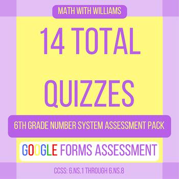 Google Forms Quiz Bundle - 6.NS The Number System - 14 Quizzes