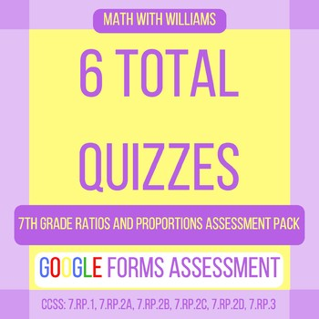 Google Forms Quiz Bundle - 7.RP Ratios and Proportional Relations - 6 Quizzes