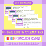 Google Forms Quiz Bundle- Geometry Strand - 6.G.1, 6.G.2, 6.G.3, 6.G.4