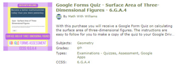 Google Forms Quiz Bundle- Geometry Strand - 6.G.1, 6.G.2, 6.G.3, 6.G.4