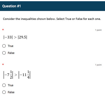 Google Forms Quiz - Comparing Absolute Values - 6.NS.7d