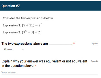 Google Forms Quiz - Evaluating Whole-Number Exponents - 6.EE.1