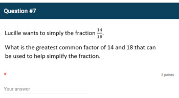 Google Forms Quiz - Greatest Common Factor and Least Common Multiple - 6.NS.4