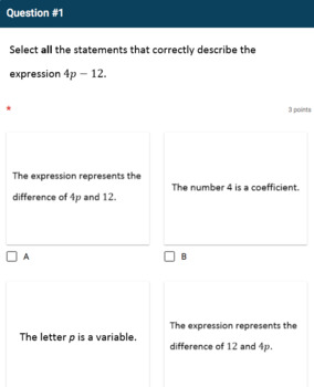 Google Forms Quiz - Identifying Parts of an Expression - 6.EE.2b