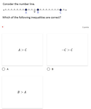 Google Forms Quiz - Inequalities and the Number Line - 6.NS.7a