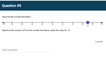 Google Forms Quiz - Opposites on the Number Line - 6.NS.6a