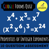 Google Forms™ Quiz - Properties of Integer Exponents - 8.EE.1 Distance Learning