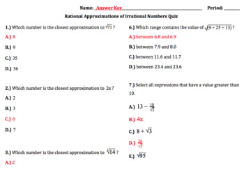 8.NS.2 - Rational Approximations of Irrational Numbers (Google Forms + Paper)