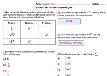 8.NS.1-Rational/Irrational Numbers & Decimal Expansion Quiz (Google Forms+Paper)