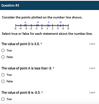 Google Forms Quiz - Rational Numbers on Number Line & Coordinate Plane - 6.NS.6c