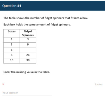 Google Forms Quiz - Ratios in Tables - 6.RP.3a