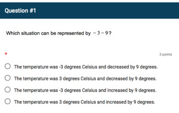 Google Forms Quiz - Real World Problems with Rational Numbers - 7.NS.3