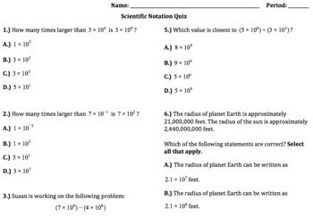 8.EE.3 and 8.EE.4 - Scientific Notation Quiz (Google Forms + Paper)