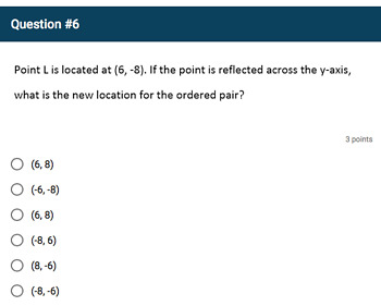 Google Forms Quiz - Signs of Numbers in Ordered Pairs - 6.NS.6b