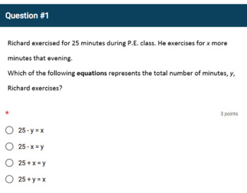 Google Forms Quiz - Using Variables to Represent Two Quantities - 6.EE.9