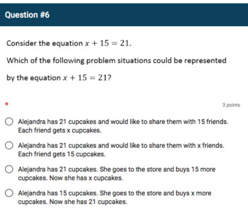 Google Forms Quiz - Writing Equations & Solving Real-World Problems - 6.EE.6-7