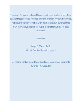 Google Forms Rubric for Data Collection: Brushing Teeth