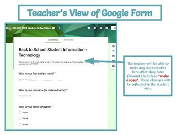 Back to School Questionnaire for STUDENTS using Google Forms