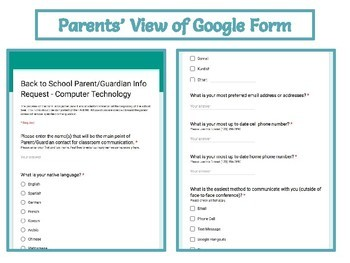 Back to School Questionnaire for PARENTS using Google Forms
